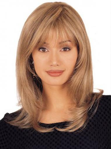 Blonde Layered Straight Online Medium Wigs