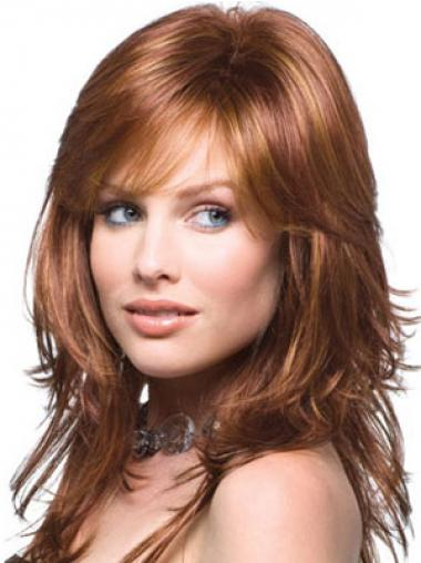 Wavy Auburn Layered Convenient Human Hair Wigs