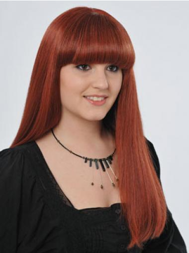 Red 100% Hand-tied Straight Popular Celebrity Wigs