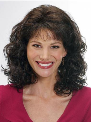 Brown With Bangs Wavy No-fuss Classic Wigs