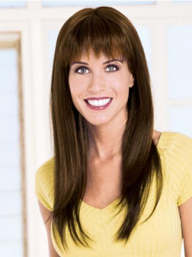 Straight Brown With Bangs Ideal Long Wigs