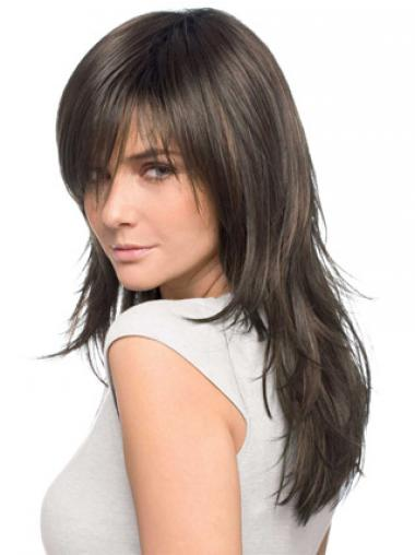 Brown Layered Remy Human Hair Good Long Wigs