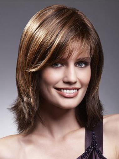 Brown Lace Front Straight Stylish Medium Wigs