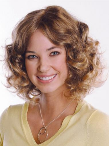 Brown Curly Comfortable Medium Wigs