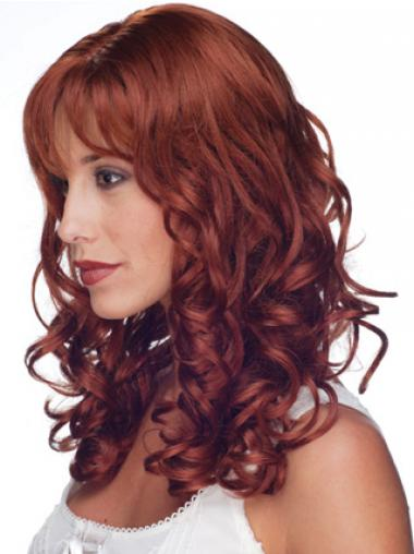 Red 100% Hand-tied Curly Natural Long Wigs