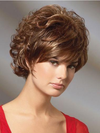 Curly Auburn Layered Modern Classic Wigs