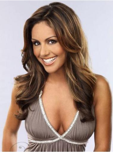 Brown Indian Remy Hair Wavy Sleek Celebrity Wigs