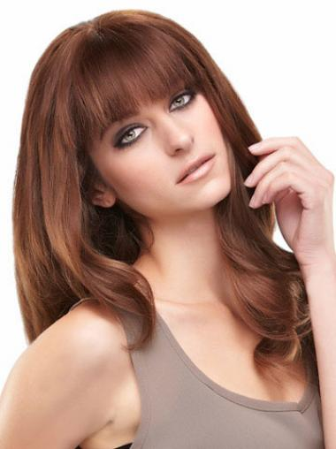 With Bangs Auburn Straight Great Remy Human Lace Wigs