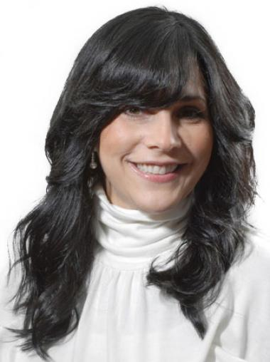 Black With Bangs Wavy Stylish Celebrity Wigs