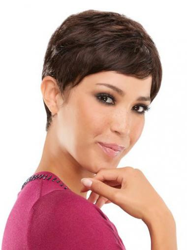 Brown Boycuts Straight Sleek Celebrity Wigs