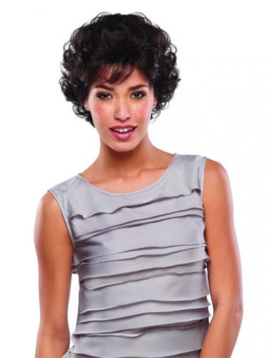 Brown Classic Curly Fashionable Human Hair Wigs