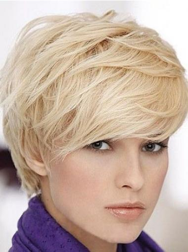 Straight Blonde Boycuts Designed Human Hair Wigs