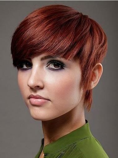 Red Boycuts Straight Beautiful Celebrity Wigs