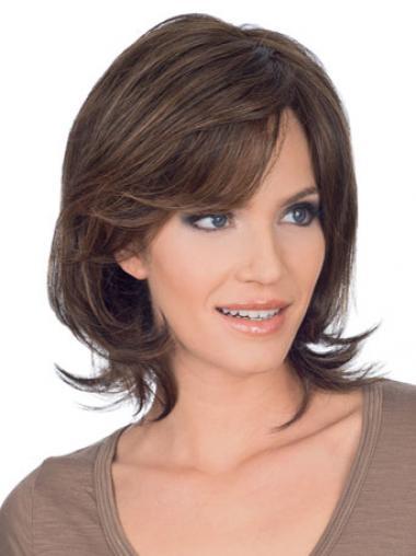 Straight Brown Layered Amazing Medium Wigs