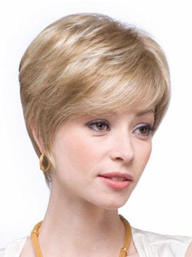 Straight Blonde Layered Hairstyles Human Hair Wigs