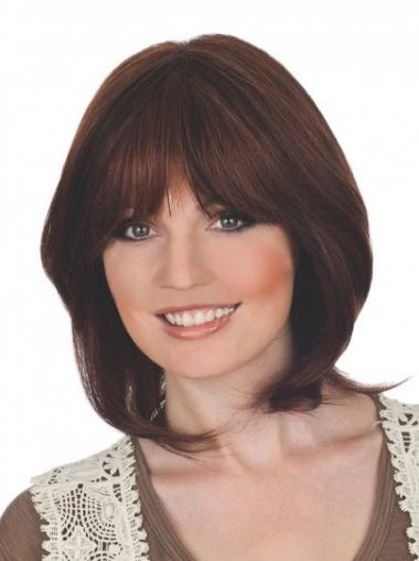 Lace Front Auburn Straight Modern Medium Wigs