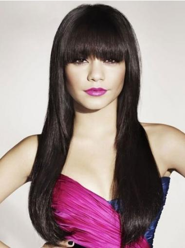Black With Bangs Straight Perfect Human Hair Wigs