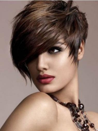 Straight Brown Boycuts Designed Human Hair Wigs