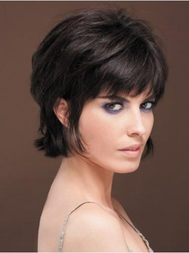 Straight Black With Bangs Comfortable Human Hair Wigs
