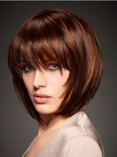 Straight Auburn Bobs High Quality Human Hair Wigs