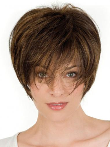 Straight Brown Layered Amazing Short Wigs