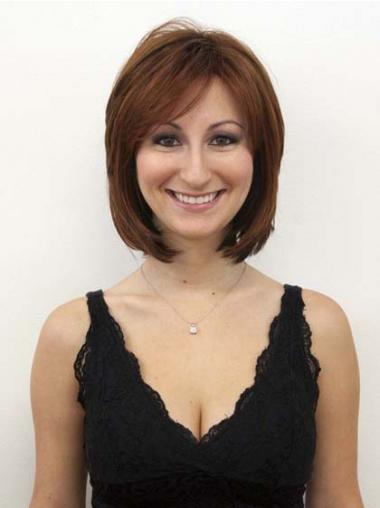 Auburn Layered Straight Modern Human Hair Wigs