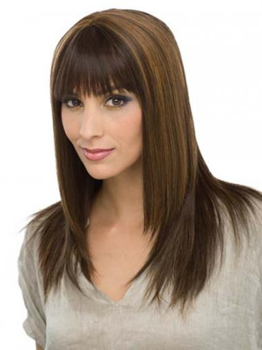 Straight Brown With Bangs Amazing Human Hair Wigs