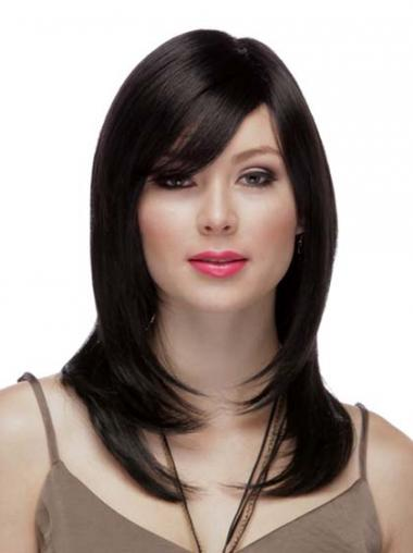 Layered Black Straight Comfortable Long Wigs