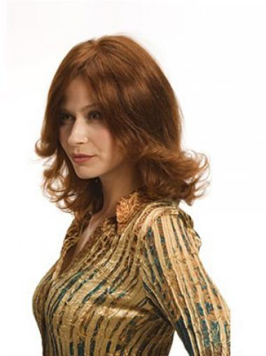 Wavy Auburn Layered Durable Medium Wigs