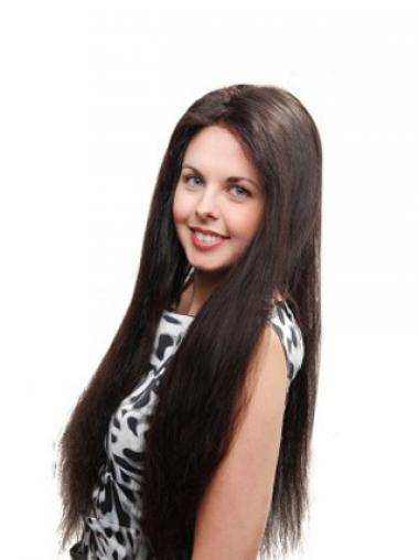 Straight Black 100% Hand-tied Exquisite Long Wigs