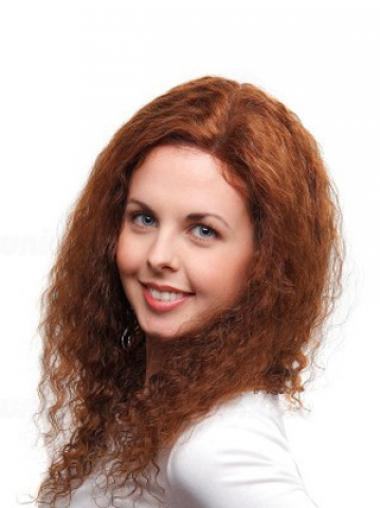 Curly Auburn 100% Hand-tied Cheap Long Wigs