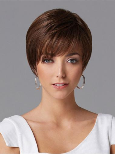 Auburn Layered Straight Hairstyles Human Hair Wigs