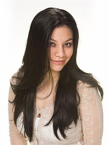 Black Without Bangs Straight Soft Human Hair Wigs