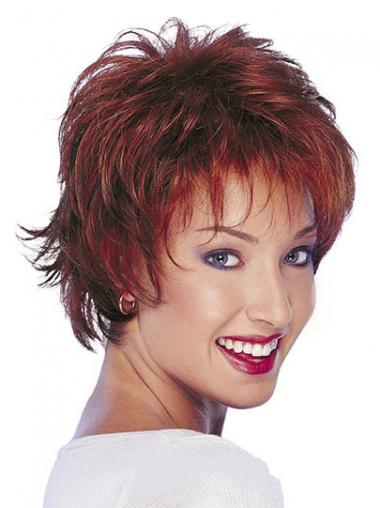 Red Boycuts Wavy Fabulous Human Hair Wigs