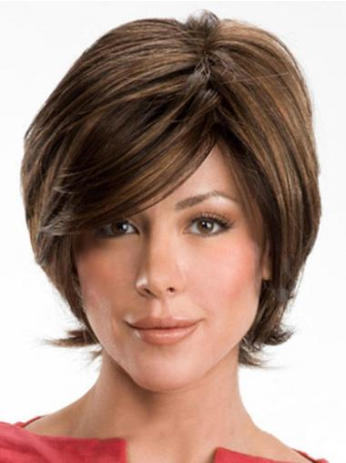 Wavy Brown Layered Convenient Human Hair Wigs