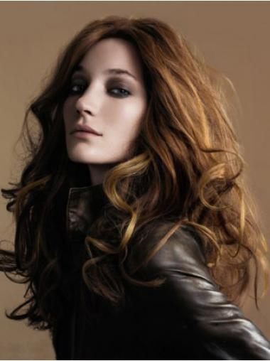 Brown 100% Hand-tied Wavy Style Long Wigs