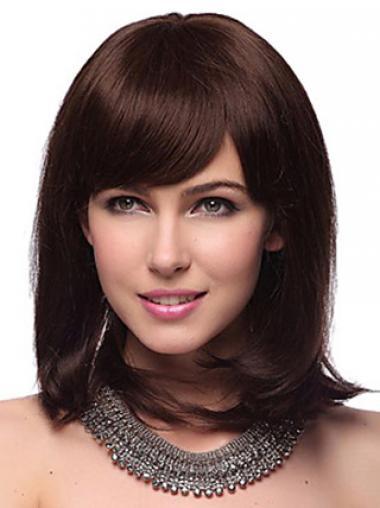 Auburn With Bangs Straight Trendy Human Hair Wigs