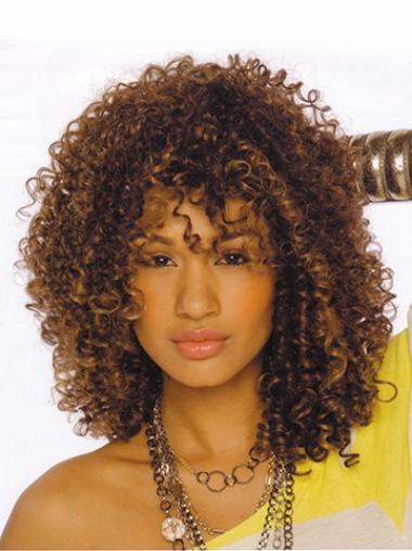 Brown Afro Curly Beautiful Medium Wigs