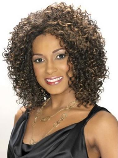 Brown Afro Curly Affordable Medium Wigs