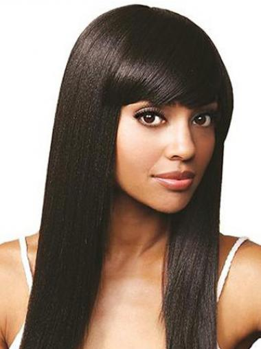 Straight Black Indian Remy Hair Durable Human Hair Lace Front Wigs