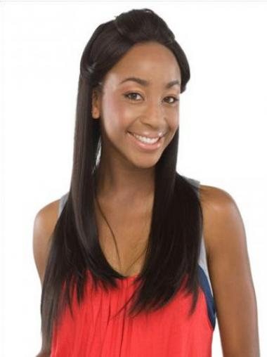 Black Indian Remy Hair Straight Style Human Hair Lace Front Wigs