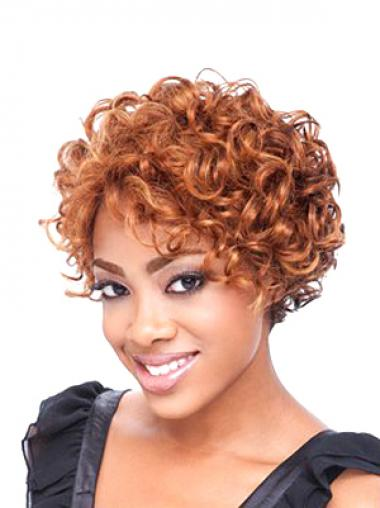 Boycuts Auburn Curly Beautiful Short Wigs