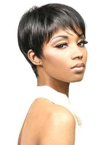 Straight Boycuts Black Designed African American Wigs