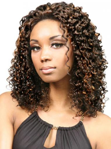 Comfortable Brown Afro Curly Medium Wigs