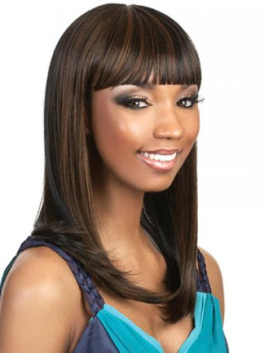 Straight Brown With Bangs Beautiful African American Wigs