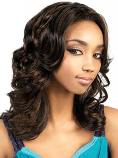 Brown Without Bangs Wavy Fashionable African American Wigs