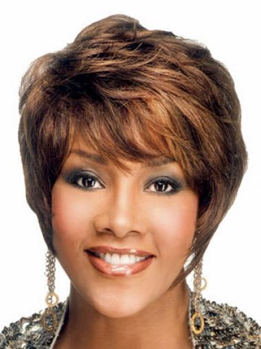 Wavy Auburn Layered Designed African American Wigs