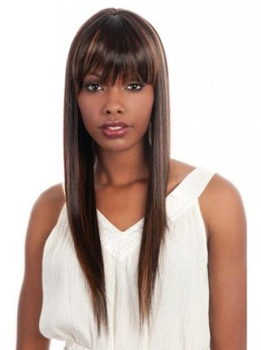 Straight Brown With Bangs Gorgeous African American Wigs