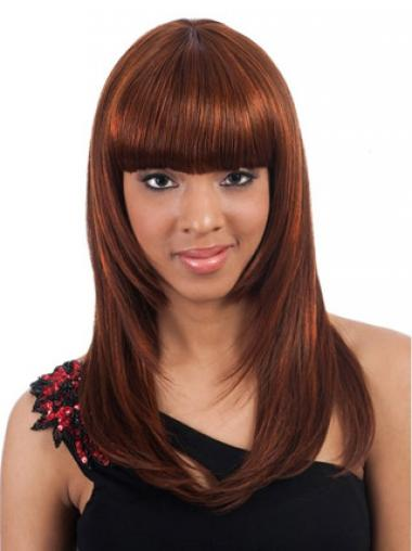 With Bangs Auburn Straight Affordable African American Wigs