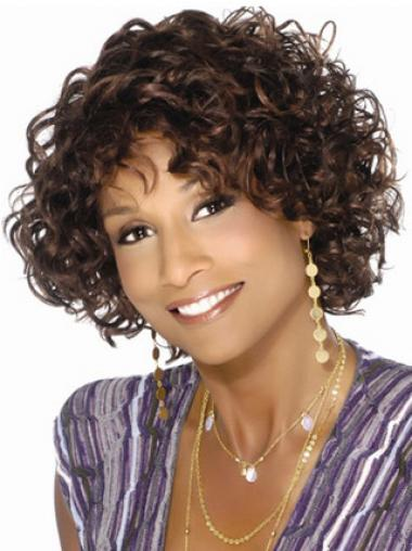 Brown With Bangs Curly Online African American Wigs